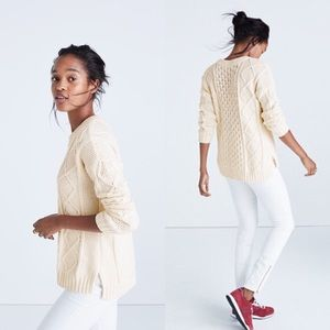 Madewell classic cable knit pull over sweater S